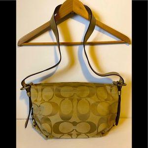 COACH monogram gold hobo canvas shoulder bag GUC